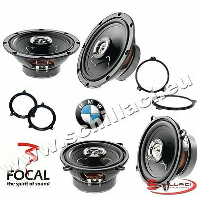 FOCAL 4 speakers kit for BMW serie 3 e46 1998-2006 box + spacer rings adapters