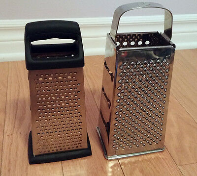 2X Box Grater Stainless Steel 4 Grating Surface Great Condition