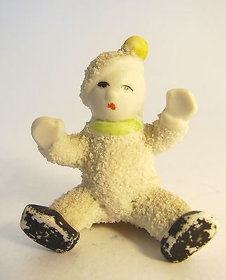 Antique SNOWBABY w YELLOW POMPOM ON HAT & GREEN SCARF from Japan circa1920s