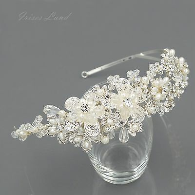 Crystal Pearl Flower Headband Headpiece Tiara Bridal Wedding Accessory 00399 S