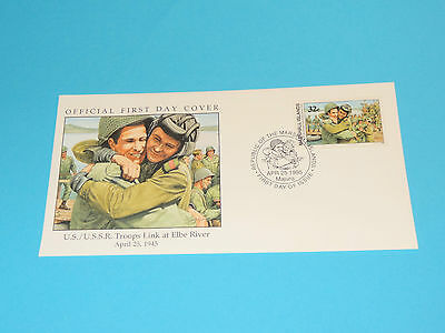 WWII FDC W92 Elbe River Germany Russia Soviet US Troops * 50th Anniversary