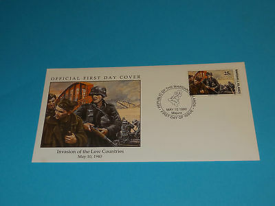 WWII FDC W8-2 Invasion Low Countries * Belgium Germany * 50th Anniversary