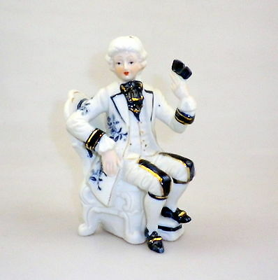 Vintage Blue and White Bisque Figurine Gentleman Playing Cards