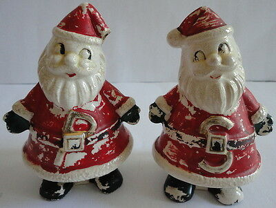 Vintage SANTA CLAUS Salt & Pepper Shakers As Is, As Found, Great Awesome Look