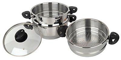 Stainless steel collection Pendeford Vaporiera in acciaio inox, 3 piani, (V5p)