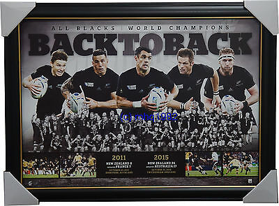 All Blacks Back To Back 2011 & 2015 World Cup Champions L/e Print Framed Carter