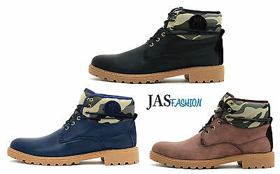 Mens Lace up Combat Fashion Ankle Army Military Biker Italian Boots Shoes Size