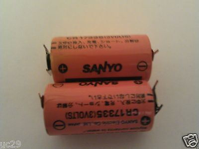 2  X SANYO CR17335 3V 3 PIN BATTERIES PLC BACK UP. New Batteries Dated 06/16
