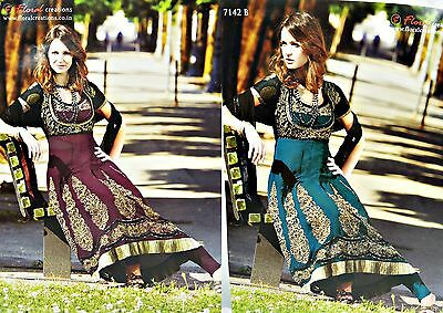 Jinaam 7142 Gold Sequin Embroidered Anarkali Dress Suit, Burgundy / Green (015)