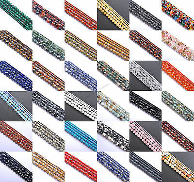 "Natural Gemstone Round Spacer Beads 16"" 4MM 6MM 8MM 10MM 12MM Jewelry Design"