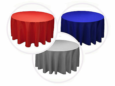 """12 PACK 90"""" inch ROUND Tablecloth Polyester WEDING Banquet Overlay 25 Colors"""