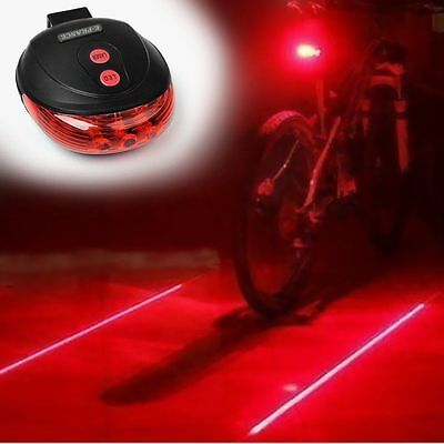 Bicycle Bike Red Laser Beam 5LED Cycling Rear Tail Warning Lamp Light+Battery Uk