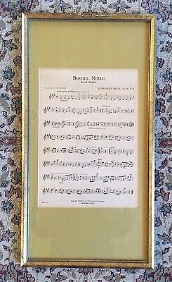 "Antique ""buona Notte"", 1907 Sheet Music John Church Company, Framed, Lovely"