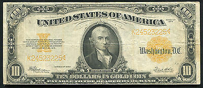 Fr. 1173 1922 $10 Ten Dollars Gold Certificate Currency Note Vf+
