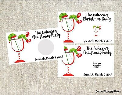 Christmas Holiday Elf Cocktail Party Scratch Off Tickets Game Cards Favors