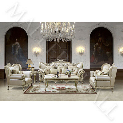 French Provincial Carved White Tufted Leather Upholstered 5 Pc Sofa Set