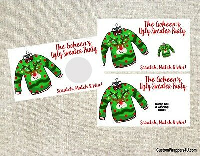 Christmas Holiday Ugly Sweater Party Scratch Off Tickets Game Cards Favors