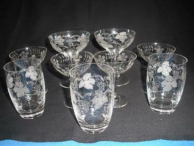 Stunning Etched Bohemia Glass Sherry/  Wine Glasses X 9 Czechoslovakia