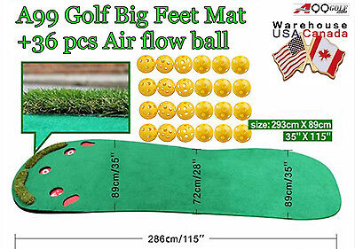 A99 Golf practice mat Big Feet Mat Putting Green Thickness+36pcs Air Flow Balls