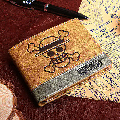 Mixed colors PU wallet with Japanese Anime ONE PIECE Monky D Luffy skull mark