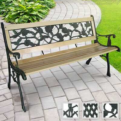 Outdoor Garden 3 Seater Park Bench Patio Furniture Cast Iron Leg Painted Wooden