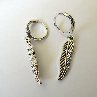 Men's Women's Hoop Earrings C. Silver With Feather Pendant - 322 M