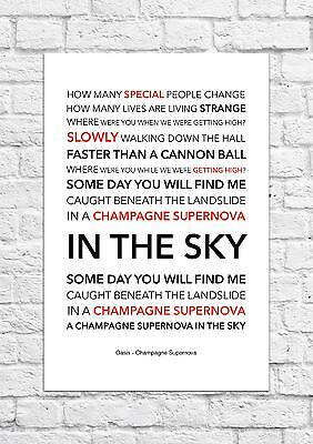 Oasis - Champagne Supernova - Song Lyric Art Poster - A4 Size
