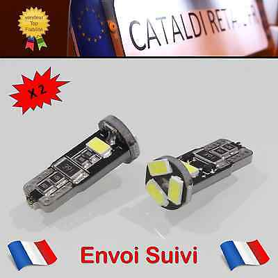 2 x Veilleuses LED T10 W5W 5 SMD Canbus Anti Erreur ODB Blanc Pur / FRANCE !
