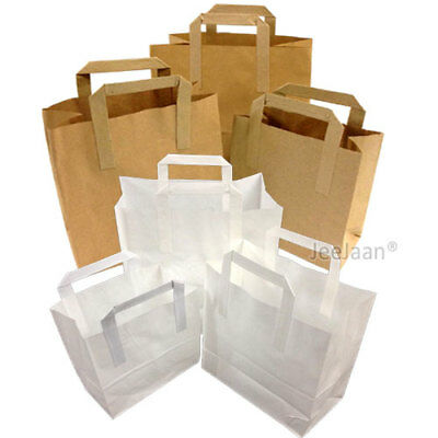 Paper Carrier Bags White Brown SOS Kraft Takeaway Flat Handles S M L Food Lunch