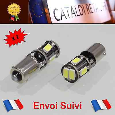 2 x Veilleuses LED T4W BA9S 6 SMD Canbus Anti Erreur ODB Blanc Pur / FRANCE !