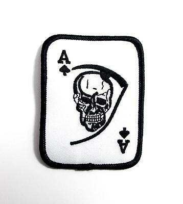 Ace of Spades with Skull and Scythe Embroidered Military Patch Iron Sew AKPM180