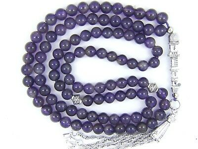 6mm x99 AMETHYST PRAYER BEADS ISLAMIC TASBIH MASBAHA QURAN GIFT