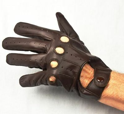 Men Driving Gloves Real Leather XL Brown-Free Shipping