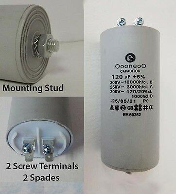 120 MFD 250 Volt Run capacitor w/ mounting stud