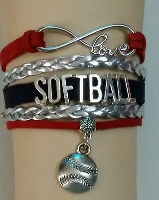 "Softball Leather Charm Bracelet Silver-6 1/2""- 8 1/2""-Sports #136 - Volleyball"