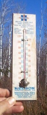 Vintage Hudson Hog Pig Farm Equipment Thermometer Sign Cupola Garden Sprayers