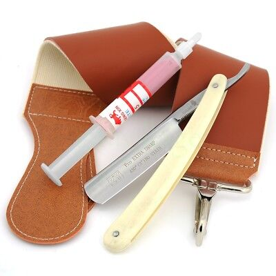 ZY Shave Ready Straight Razor HRC60 S_Steel+Leather Canvas Strop+Paste 10000#