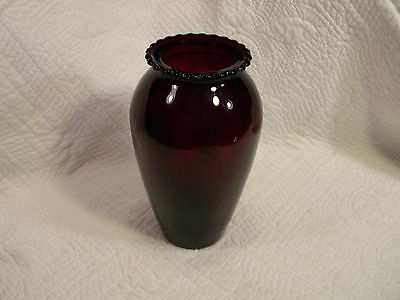 """Vintage Anchor Hocking ? Royal Ruby Red Glass Vase Hoover 9"""", Excellent Conditin"""