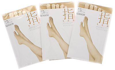"3 x ATSUGI ASTIGU Pantyhose Stockings Tights 指 ""Toe"" ""Finger"" made in Japan"