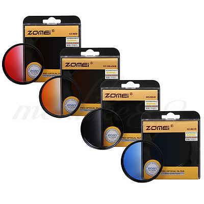 Zomei 77mm Round Gradual Neutral Density Lens Filter Kit - Red Blue Orange Grey