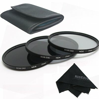 RISE(UK)77MM ND Neutral Density Filter Set ND2 ND4 ND8 for Canon Nikon  Lens fre