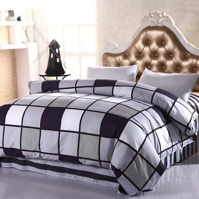 Cotton Checked Doona Duvet Quilt Cover Set Single Queen King Size Bedding Stripe