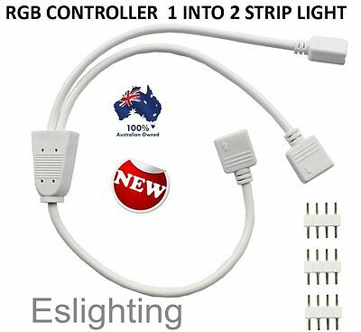 1 Rgb Light Controller Into 2 Strip Light Connector Cable Splitter 5050 3528