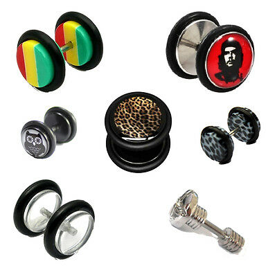 Fake Ear Plugs Image Piercings Expander Stretchers Acrylic Tunnels Cheater Stud