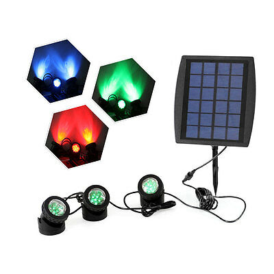 18LEDs SCF Solar Powered Super Bright 3 Submersible Lamps RGB Color Changing