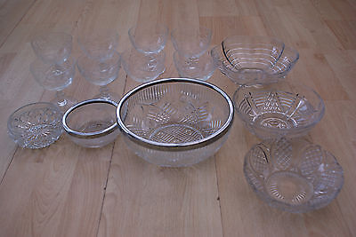 A Job Lot Of Vintage Glass And Crystal Ware