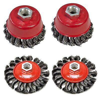"Twist Knot Wire Wheel Cup M14 Crew Brush Sets for 4.5"" 9"" Angle Grinder 4"" 3"