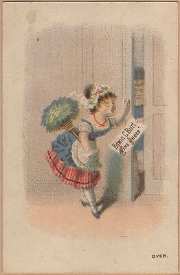Victorian Trade Card-Edwin C Burt Fine Shoes-NY-W H Pearson-Woman-Feather Duster