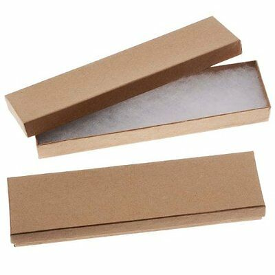 "16 Pcs 8x2x1"" Brown Pack Gift Kraft Rectangle Cardboard Jewelry Boxes"