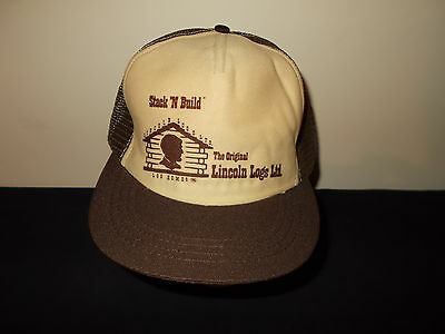 VTG-1980s Original Lincoln Logs Ltd Log Homes Abe mesh trucker hat sku32